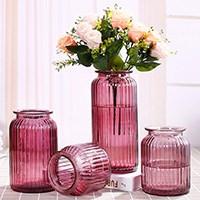 欧式田园透明创意玻璃花瓶四件套