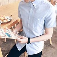 男生修身韩版休闲短袖衬衫
