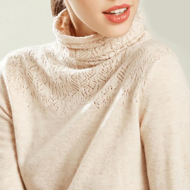 秋冬高领镂空羊绒针织衫