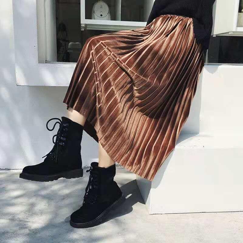 金丝绒百褶裙半身裙