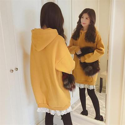 秋冬韩版加绒中长卫衣