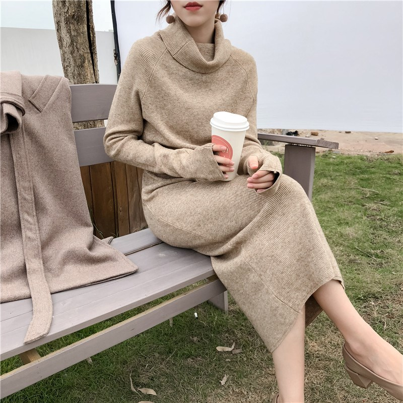 高领中长款慵懒风毛衣裙