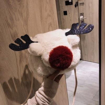 可爱毛毛包驯鹿单肩斜挎包