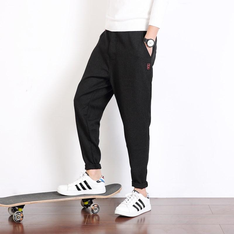 棉质弹性男裤加绒修身束脚裤
