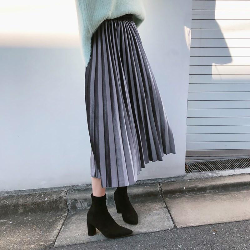 韩版金丝绒百褶半身裙