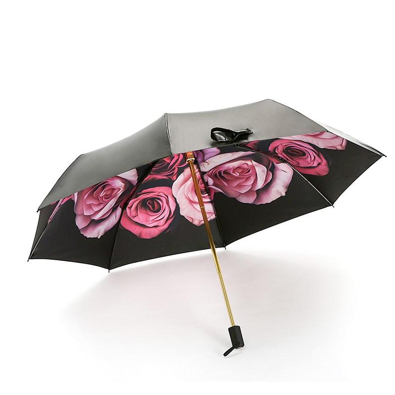 娇葵纤维伞高质量黑胶抗折雨伞