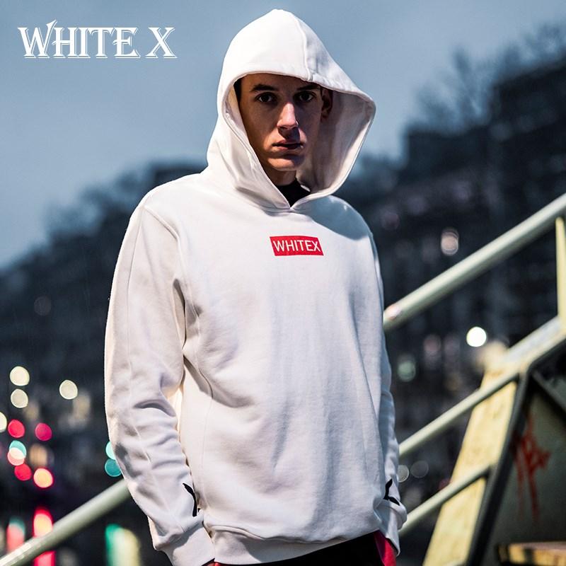 WhiteX潮牌卫衣男连帽套头衫