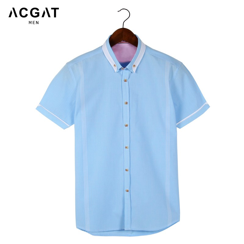 海澜之家剪标纯棉短袖衬衫