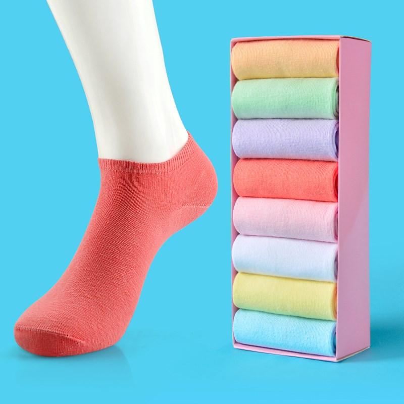 女糖果色纯棉短筒袜8双