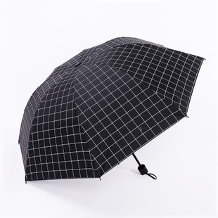 创意格子黑胶晴雨两用伞